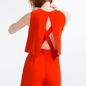 GORGEOUS Red Jumpsuit by Zara - Size Medium
